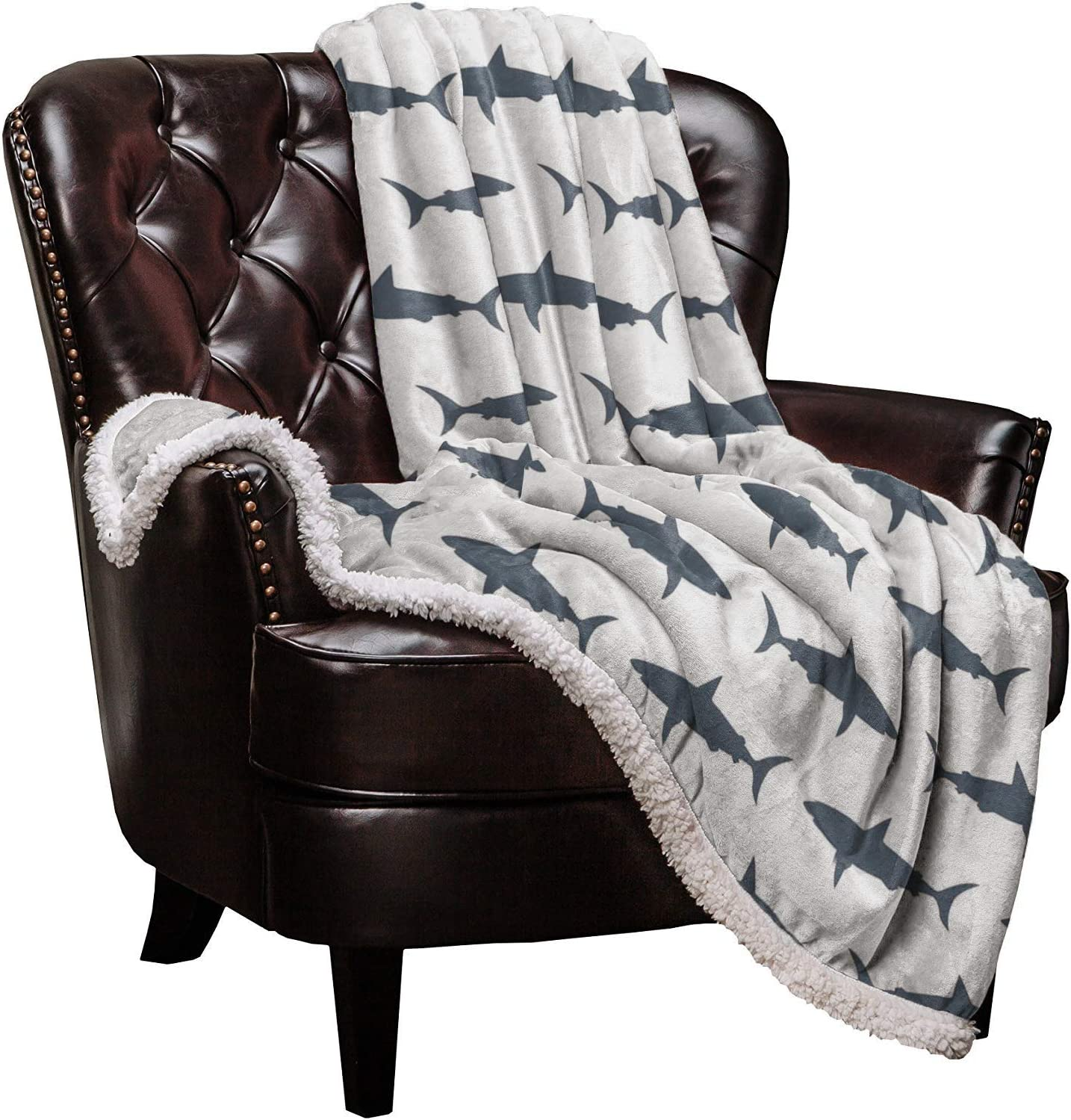 """Roses Garden Sharks Sherpa Fleece Blanket,Sharks Silhouettes Bed Blanket Soft Cozy Luxury Blanket 40""""x50"""",Fuzzy Thick Reversible Super Warm Fluffy Plush Microfiber Throw Blanket for Couch"""