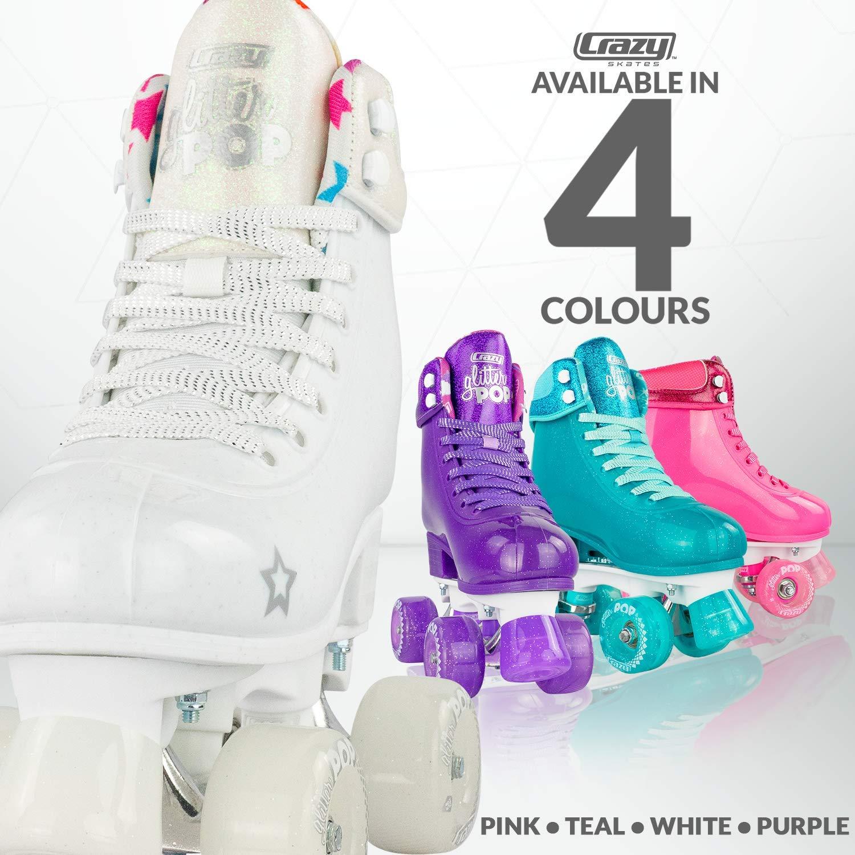Crazy Skates Glitter POP Adjustable Roller Skates for Girls and Boys | Size Adjustable Quad Skates That Fit 4 Shoe Sizes | White (Sizes jr12-2) by Crazy Skates (Image #4)