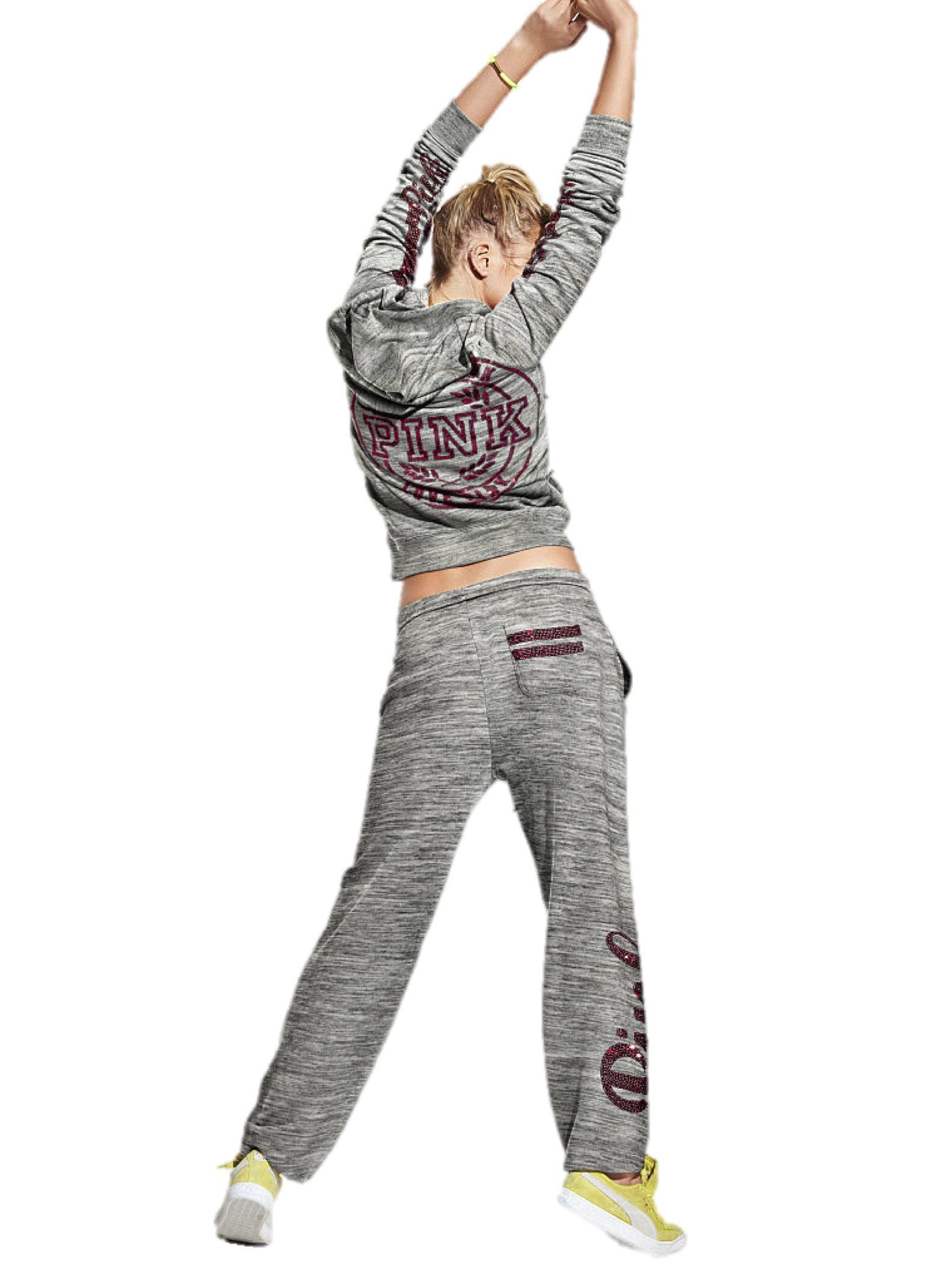 Victoria's Secret PINK Bling Hoodie Campus Sweat Pants Set X-Small Gray Marl
