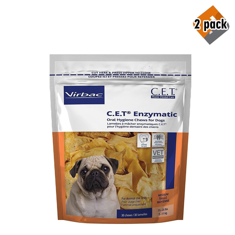 Virbac C.E.T. Enzymatic Oral Hygiene Chews for Medium Dogs, 30 Chews (1 Bag), 2 Pack by Virbac