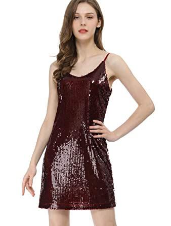 794830f4cfe Allegra K Women s Glitter Sparkle Adjustable Strap Mini Party Sequin Dress  Burgundy XS (US 2