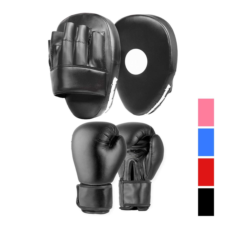 Smartie Black, 14oz Lions Amateur Fitness Boxing Set Hook /& Jab Pads Focus Punch Bag Gloves Target Strike Mitts