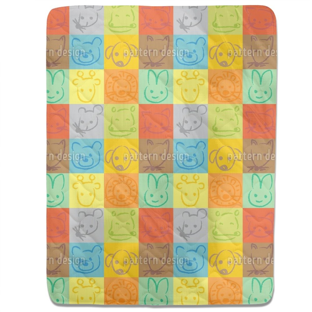 Animals In Squares Fitted Sheet: Queen Luxury Microfiber, Soft, Breathable