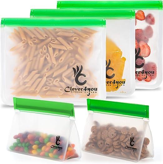 10 Pack Reusable Food Storage Bag,Extra Thick PEVA Material BPA//Plastic Free Bag
