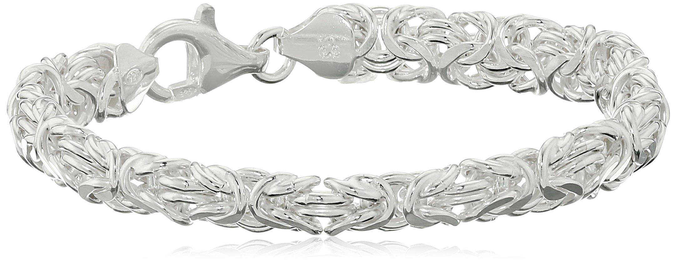 Sterling Silver Byzantine Link Bracelet, 7.5''
