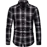 Mens Regular-Fit Shirts Long Sleeve Casual Turn Down Collar Plaids Checked Button Down Shirts
