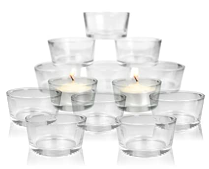 Glass Tea Light Candle Holders   Set Of 24 Clear Glass Holders   Bridal  Shower
