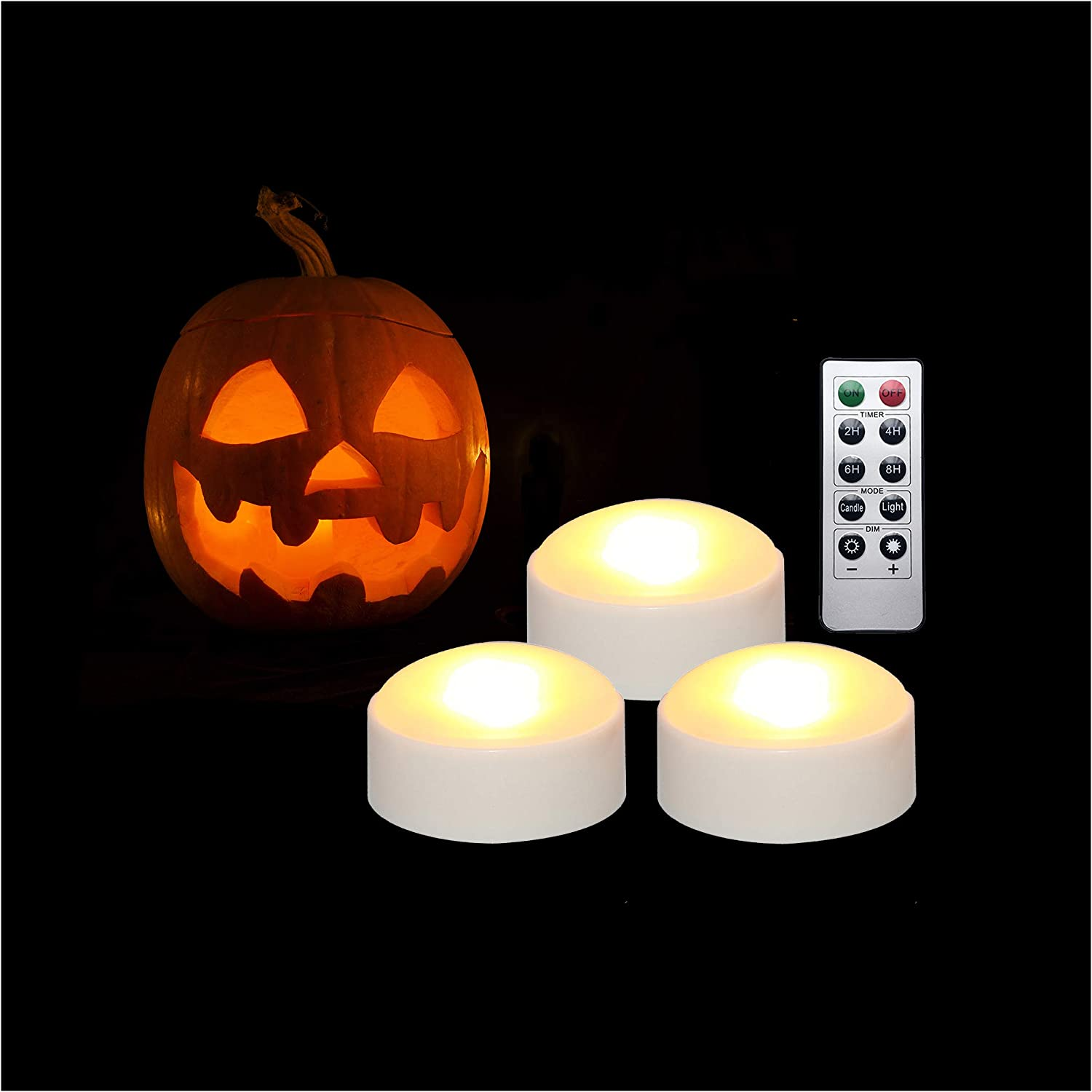 3 PCS Halloween Pumpkin Lights with Remote and Timer Battery Operated LED Decorative Bright Flickering Flameless Candle Set Bulk for Jack-O-Lantern Décor Party Home Christmas Decorations, White Color