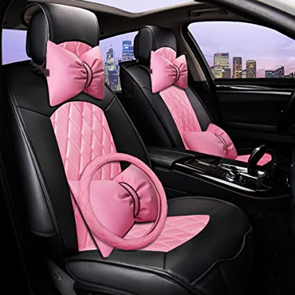 Amazoncom Seemehappy Elegant Pink And Black Car Seat Covers