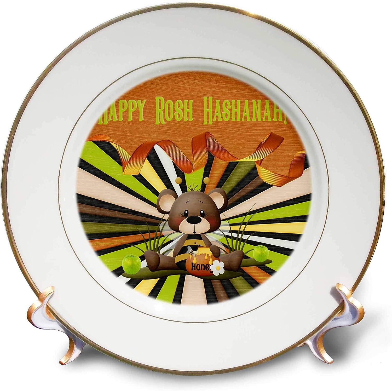 3dRose Beverly Turner Rosh Hashanah Design - Image of Rosh Hashanah, Bee Bear, Honey, Apples, Ribbon, and Stripes - 8 inch Porcelain Plate (cp_325237_1)