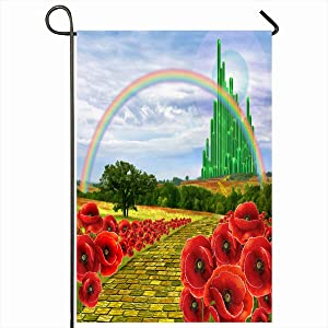 "Ahawoso Outdoor Garden Flags 12""x18"" Inch City Yellow Brick Road Leading Oz Emerald Field Flowers Poppies Follow Design Vertical Double Sided Home Decorative House Yard Sign"