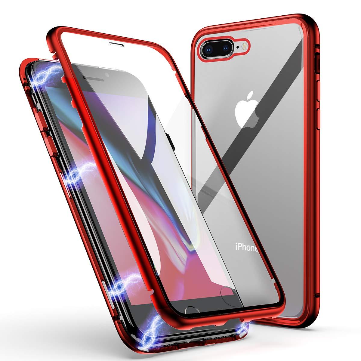 Coque iPhone 7 Plus/8 Plus, ZHIKE Coque Adsorption Magnétique Avant et Arrière Verre Trempé Couverture Plein écran Couverture à Rabat Design en Une Pièce pour Apple iPhone 7 Plus/8 Plus (Rouge Clair)