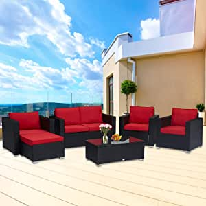 Kinsunny 5 Pieces Patio Furniture Set Outdoor Sectional Sofa Lawn Conversation Sets Wicker Rattan Chair with Ottoman