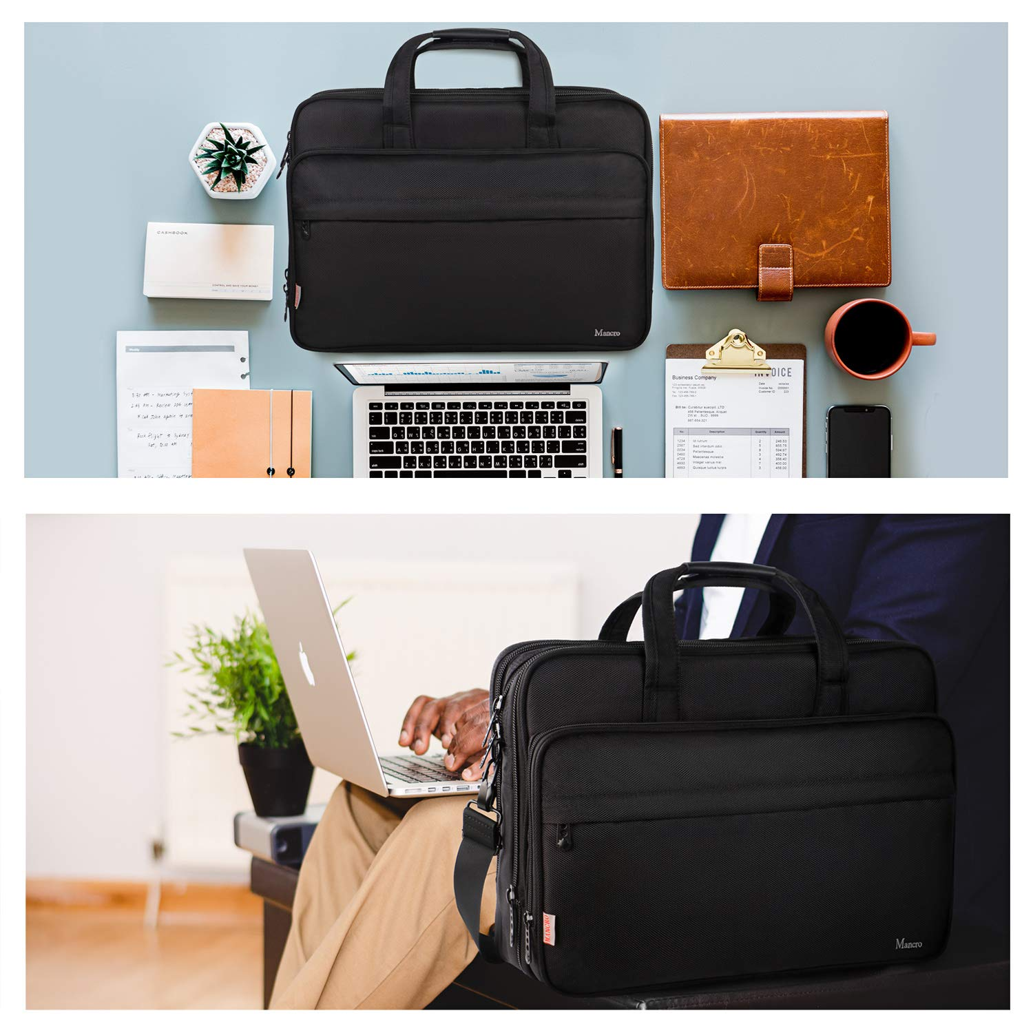 17 inch Laptop Bag, Large Business Briefcase for Men Women, Travel Laptop Case Shoulder Bag, Waterproof Carrying Case Fits 15.6 17 inch Laptop, Expandable Computer Bag for Notebook, Ultrabook by Mancro (Image #7)