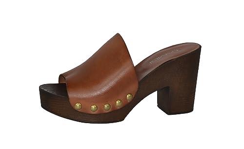 0916433c611 RIU Zueco Mujer Piel CLAVADO Cuero Zapato Plataforma Madera (36 ...