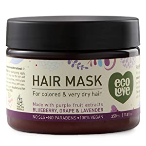 ecoLove - Deep Conditioning Hair Mask for Dry Damaged Hair & Color Treated Hair with Organic Blueberry Grape & Lavender Vegan & Cruelty Free Hair Treatment Mask 11.8fl Oz 350ml