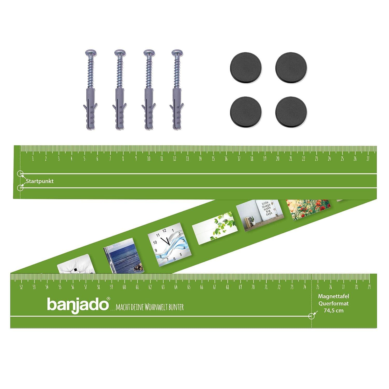 Metall Pinnwand Memoboard mit Magneten und Montageset Wandtafel magnetisch 37x78cm gro/ß banjado Design Magnettafel schwarz Motiv Maserung