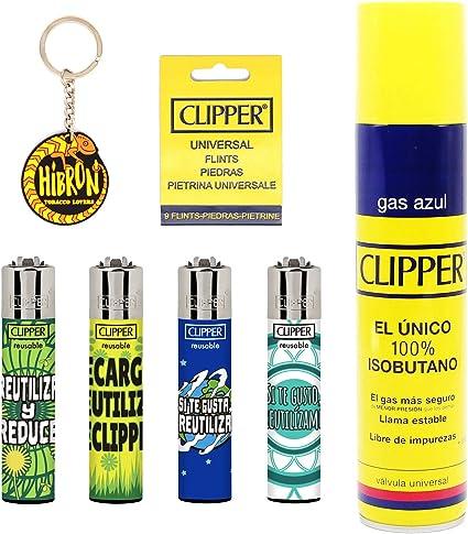 Image of Clipper 4 Mecheros Encendedores Diversos Surtidos Bonitos Baratos,1 Carga Gas Encendedor Clipper 300 Ml,9uds De Piedra Clipper Y 1 Llavero Hibron Gratis 1-10003-1