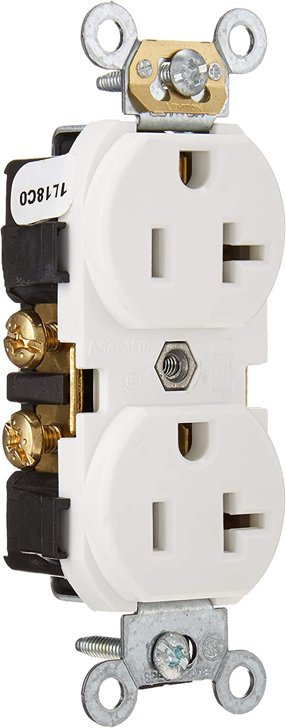 Leviton CR020 20-Amp Straight Blade Slim Body Duplex Receptacle Self Grounding 125 Volt Brown Commercial Grade