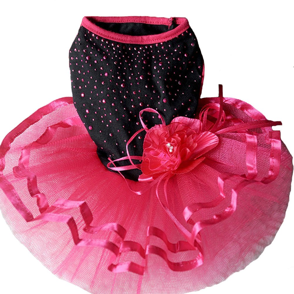 L TOPSUNG Pet Blingbling Tutu Dress Red&Black Lace Dog Skirt Small Cats   Dogs Clothes, Asia Size L by Topsung