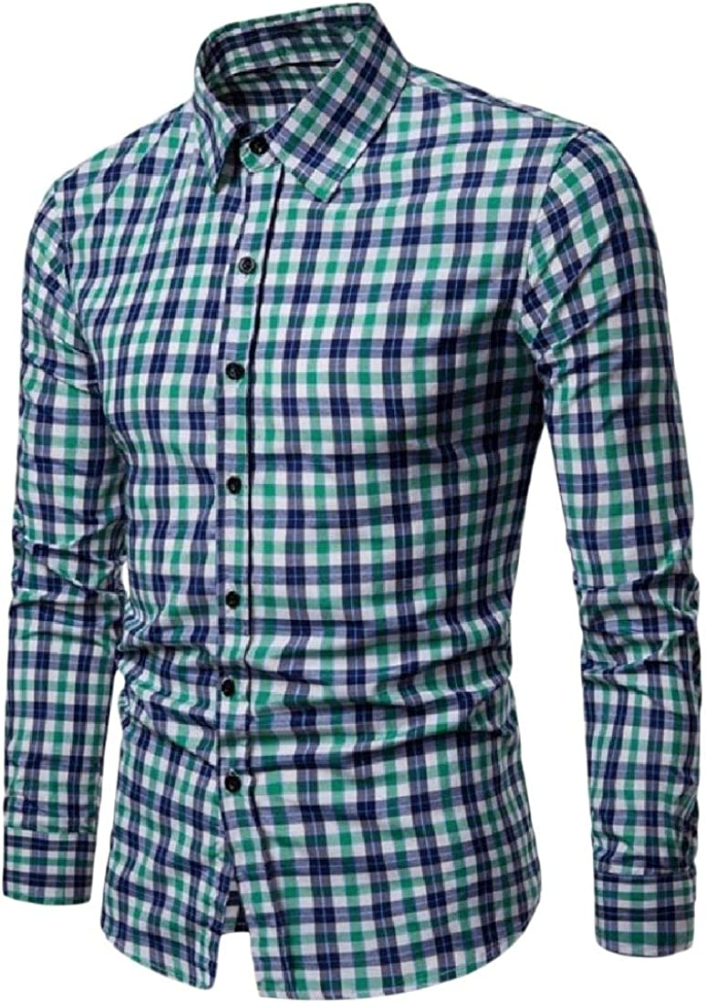 YUNY Mens Standard-Fit Grid Outerwear Non-Iron Tops Simple Dress Shirt Green XL
