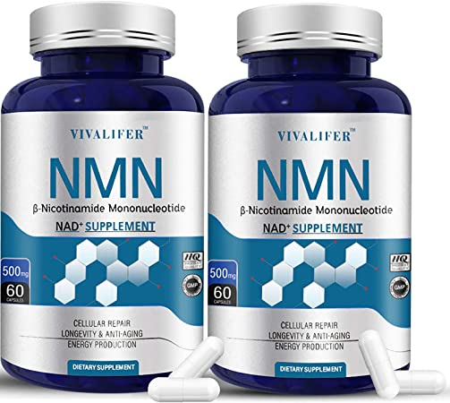 2 Pack NMN Supplement, 500MG Nicotinamide Mononucleotide Capsules for Supports Anti-Aging, Longevity and Energy, Naturally Boost NAD+ Levels (NMN 60PCS)