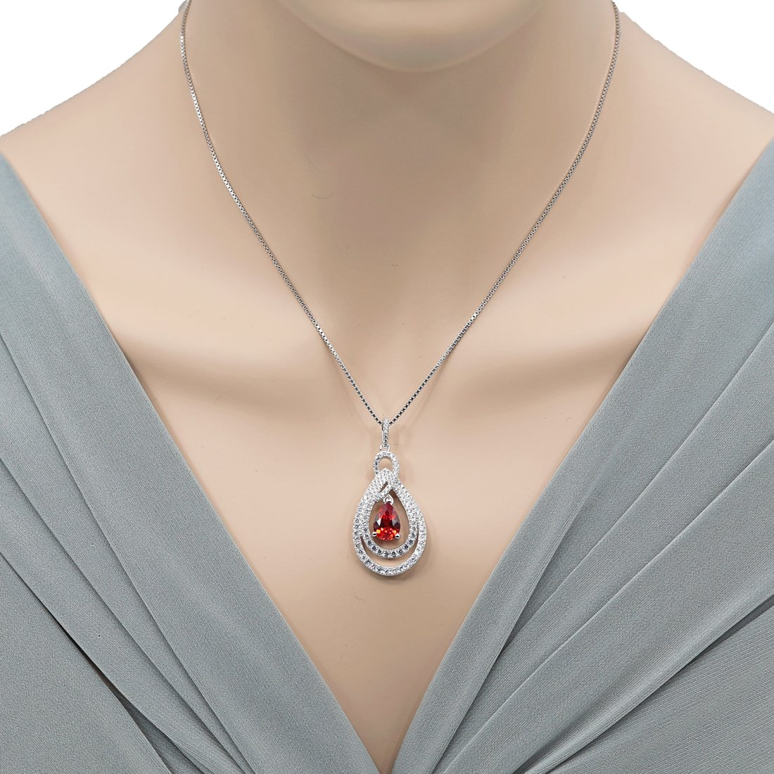 Sterling Silver Teardrop Glamour Halo Pendant Necklace in Various Gemstones