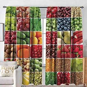 """Petpany Blackout Curtains for Bedroom/Living Room Colorful,Fresh Fruits Vegetables in Squares Healthy Eating Ingredients Agriculture Collage,Multicolor,Insulated Draperies for Office Nursery 54""""x63"""""""