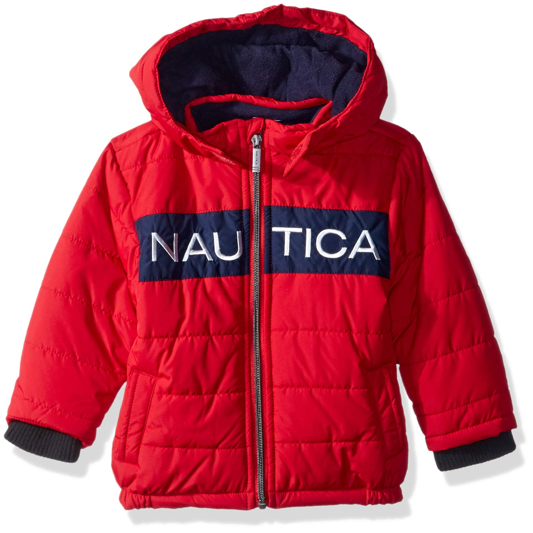 Nautica Baby Boys Signature Puffer Jacket with Storm Cuffs, Arthur Red, 24 Months by Nautica