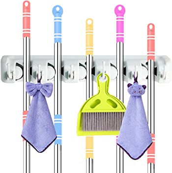 DiGiCare Broom Hanger, Wall Mount Mop Organizer