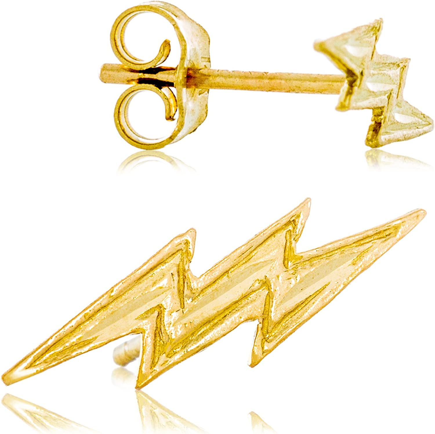 Solid 14K Yellow Gold Lightning Bolt Earrings   Fun, Edgy Design for Men and Women   13.4mm wide x 4.3 tall   0.7g