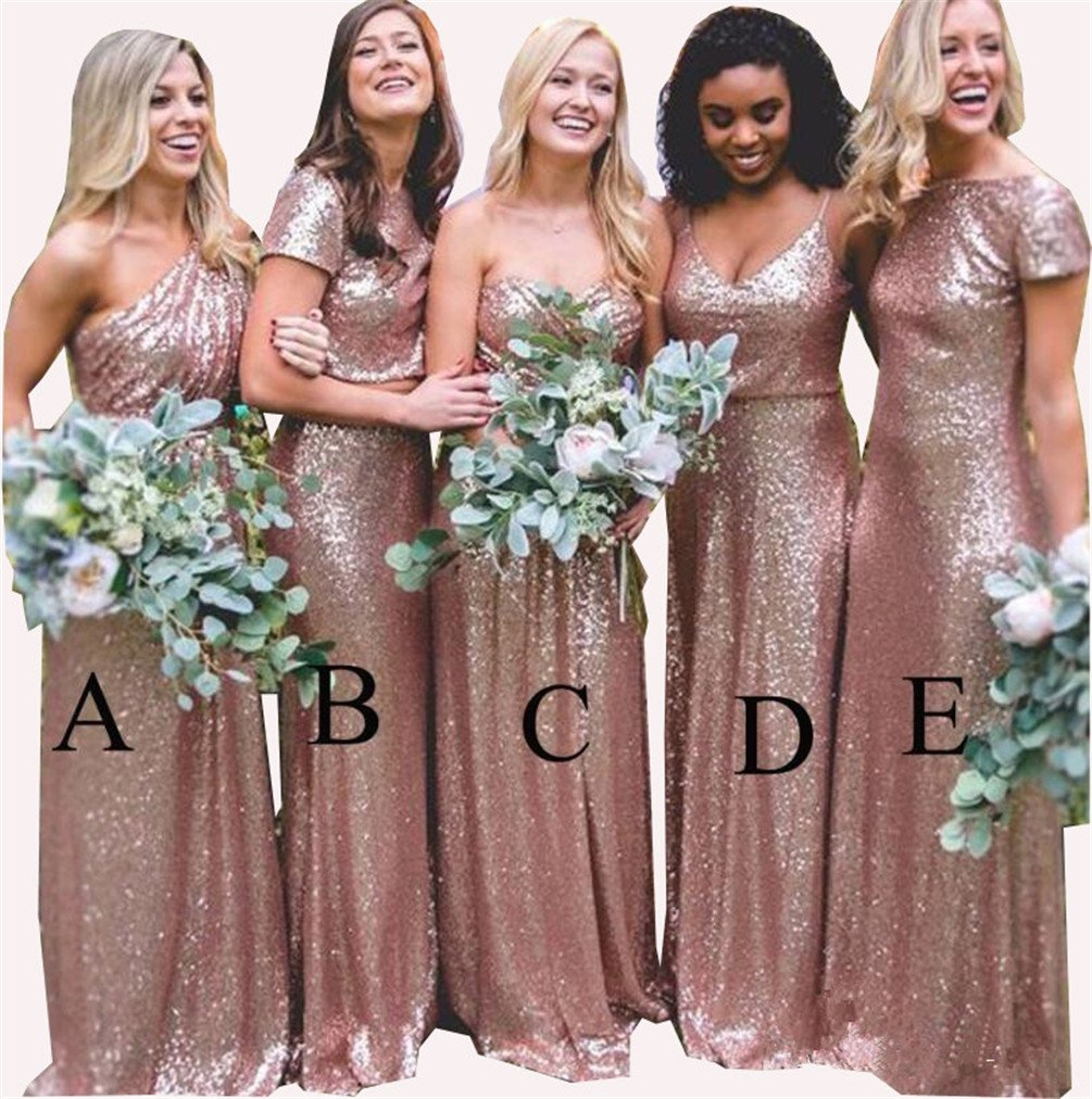Rose Gold Evening Prom Gowns Maid