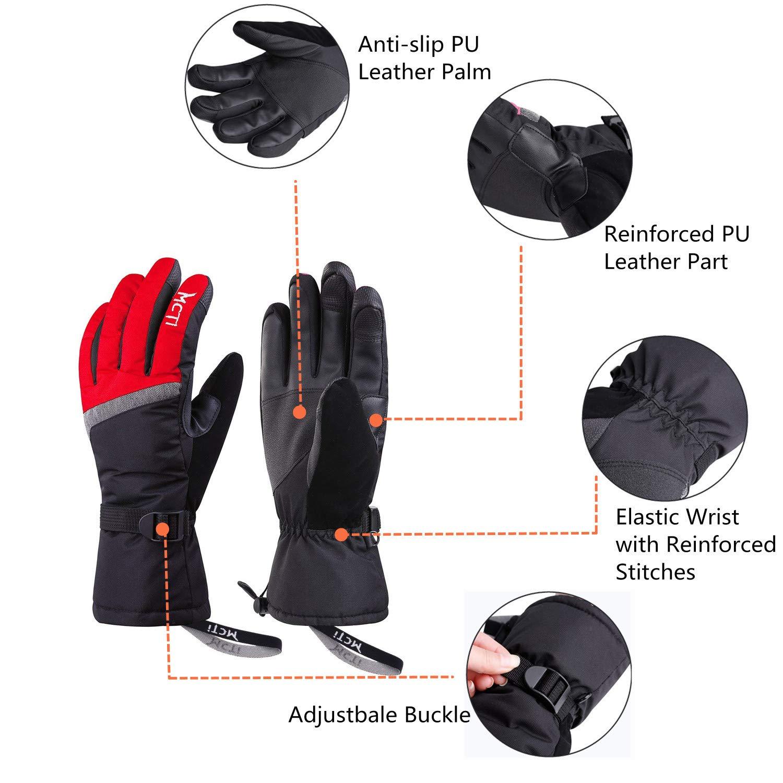 Fitself Waterproof Ski Snowboard Gloves Snow Skiing Hiking Touchscreen Warm 3M Thinsulate Women Winter Gloves Wristband