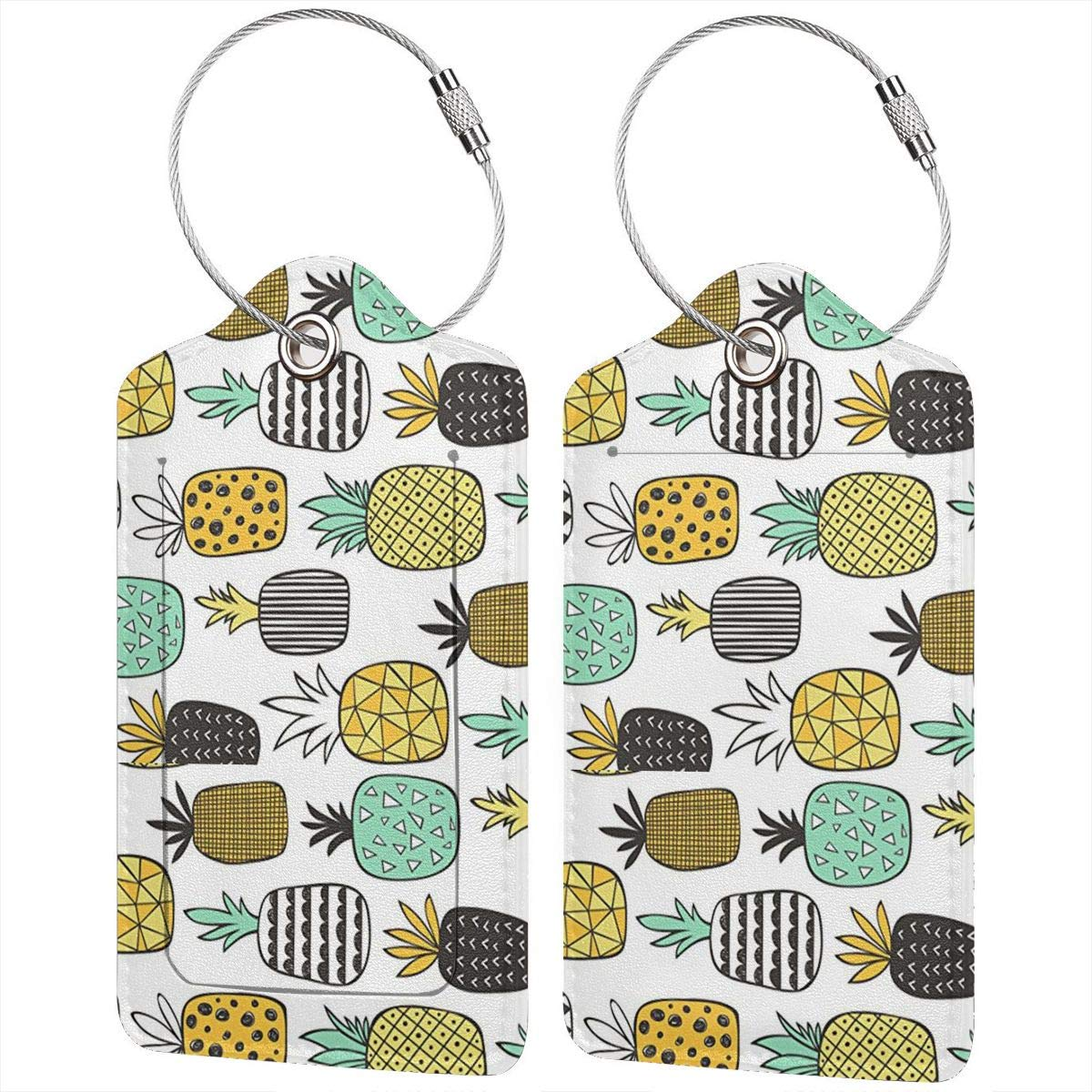 Key Tags for Instrument Baggage Bag Gift Pineapple Geometric On White 2.7 x 4.6 Blank Tag Leather Luggage Tags Full Privacy Cover and Stainless Steel Loop 1 2 4 Pcs Set
