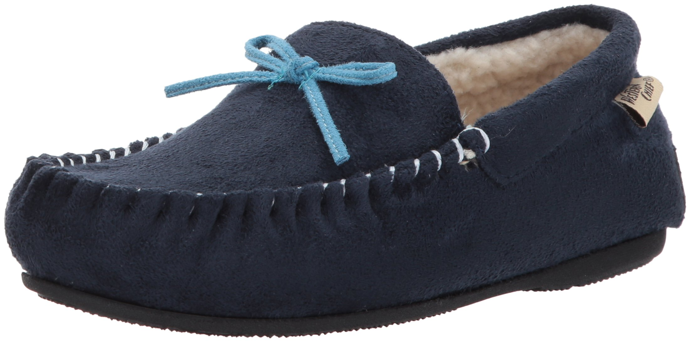 Western Chief Women's Plush Slipper Moccasin, Navy, 9 M US