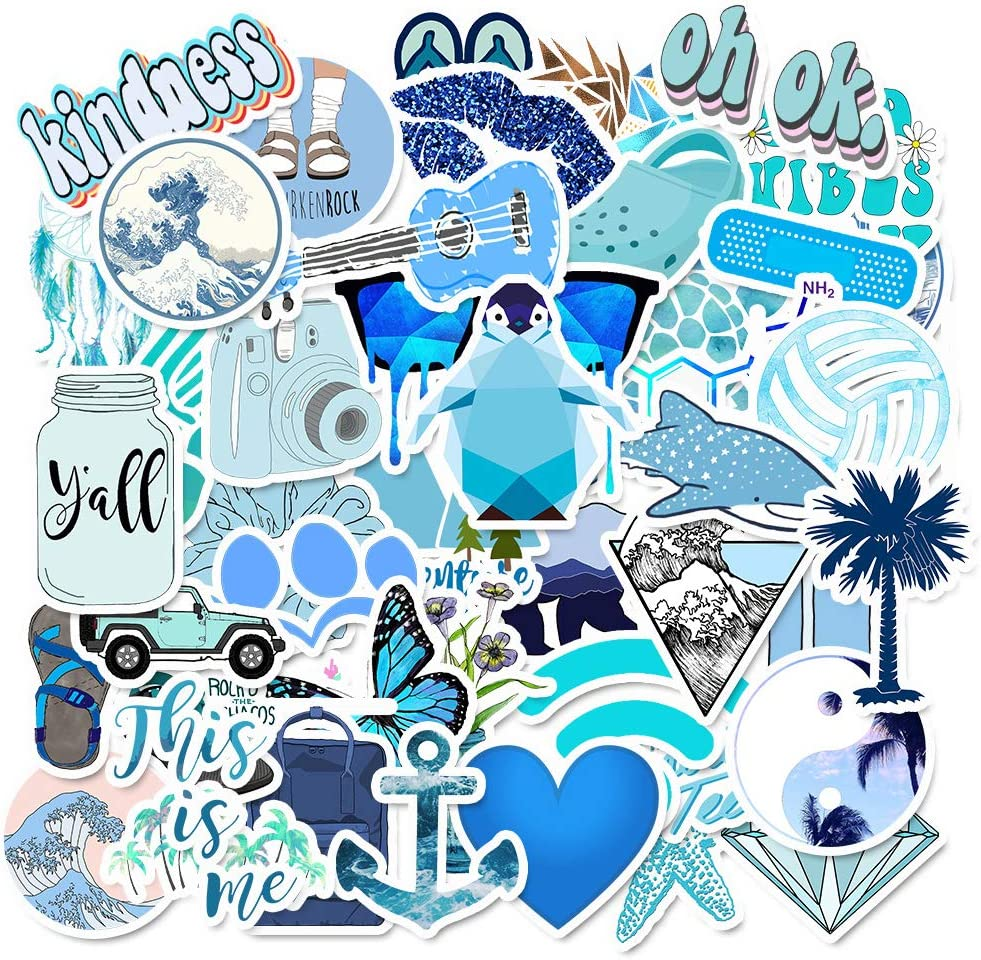 Cute VSCO Laptop Stickers, 50 Pack Blue Vinyl Stickers for Water Bottles, Waterproof Aesthetic Trendy Durable Teen Girls Decals for Phone, Computer, Car, Bumper, Skateboard, Luggage, Guitar
