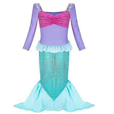 CHICTRY Traje de Ba/ño Sirenita para Beb/és Ni/ñas Disfraz Beb/é de Sirena Ba/ñador Escamas Lentejuelas Vestido de Princesa Fiesta Pelele Body Una Pieza Playa Vacaciones
