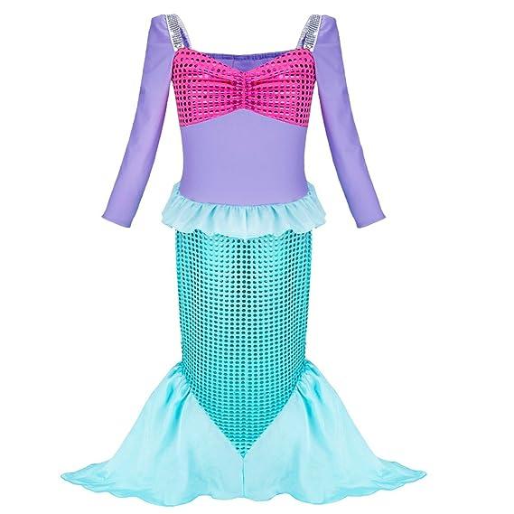 YiZYiF Vestido de Sirena Niñas Vestido Largo Manga Larga Brillante Vestido de Fiesta Disfraz de Sirena para 3-12 Años