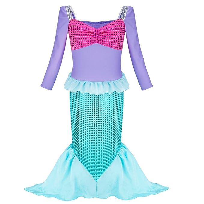 YIZYIF Vestido de Sirena Niñas Vestido Largo Manga Larga Brillante Vestido de Fiesta Disfraz de Sirena