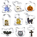 KAISHANE Mini Halloween Cookie Cutters Shapes Set of 9 - Cat, Pumpkin, Frightened Cat, Ghost, Cat Face, Bat, Tombstone…