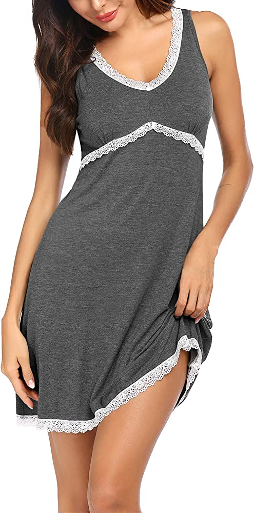 Ekouaer Sleepwear Womens Nightgown Tank Sleeveless Comfy Sleep Shirt Lace Trim Nightshirt S-XXL