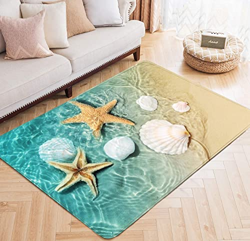 Area Rug Starfish Scallop Ocean Beach Printed Large Floor Mat for Living Dining Dorm Playing Room Bedroom 5 x 6.6