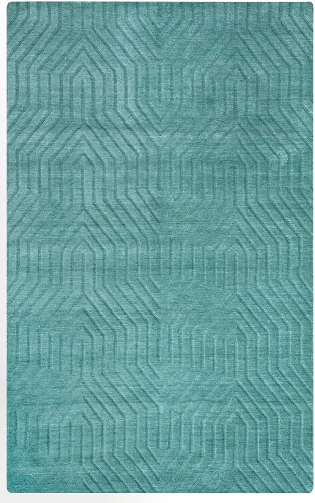Rizzy Home Technique Collection Wool Area Rug, 9' x 12', Blue/Dark Teal Solid