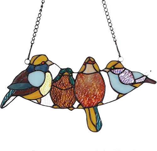 Bieye W10018 Tropical Birds Tiffany Style Stained Glass Window Panel with Chain, 15 W x 7 H