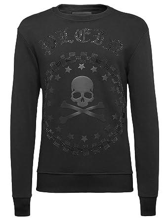 a5a411bc7b715 Philipp Plein - Bullet - Crewneck Sweatshirt with Crystal Rhinestones Logo  and Embossed Skull Print at Amazon Men s Clothing store