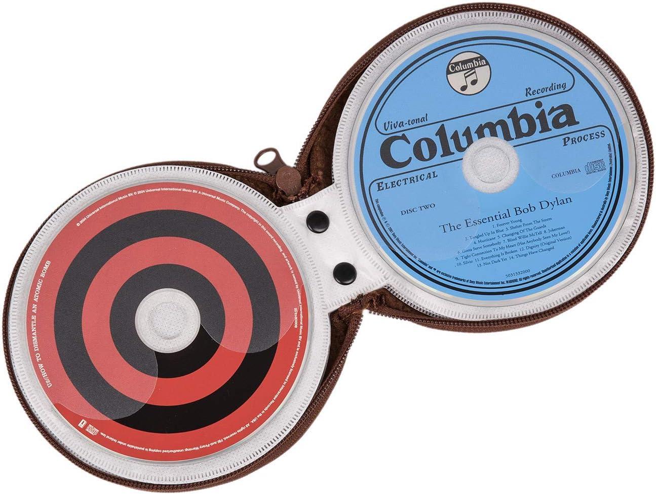 Elezay CD Case DVD Wallet Disc CD-ROM Racks Home Audio Accessories Media Storage Round Felt 20 Capacity Brown Brown