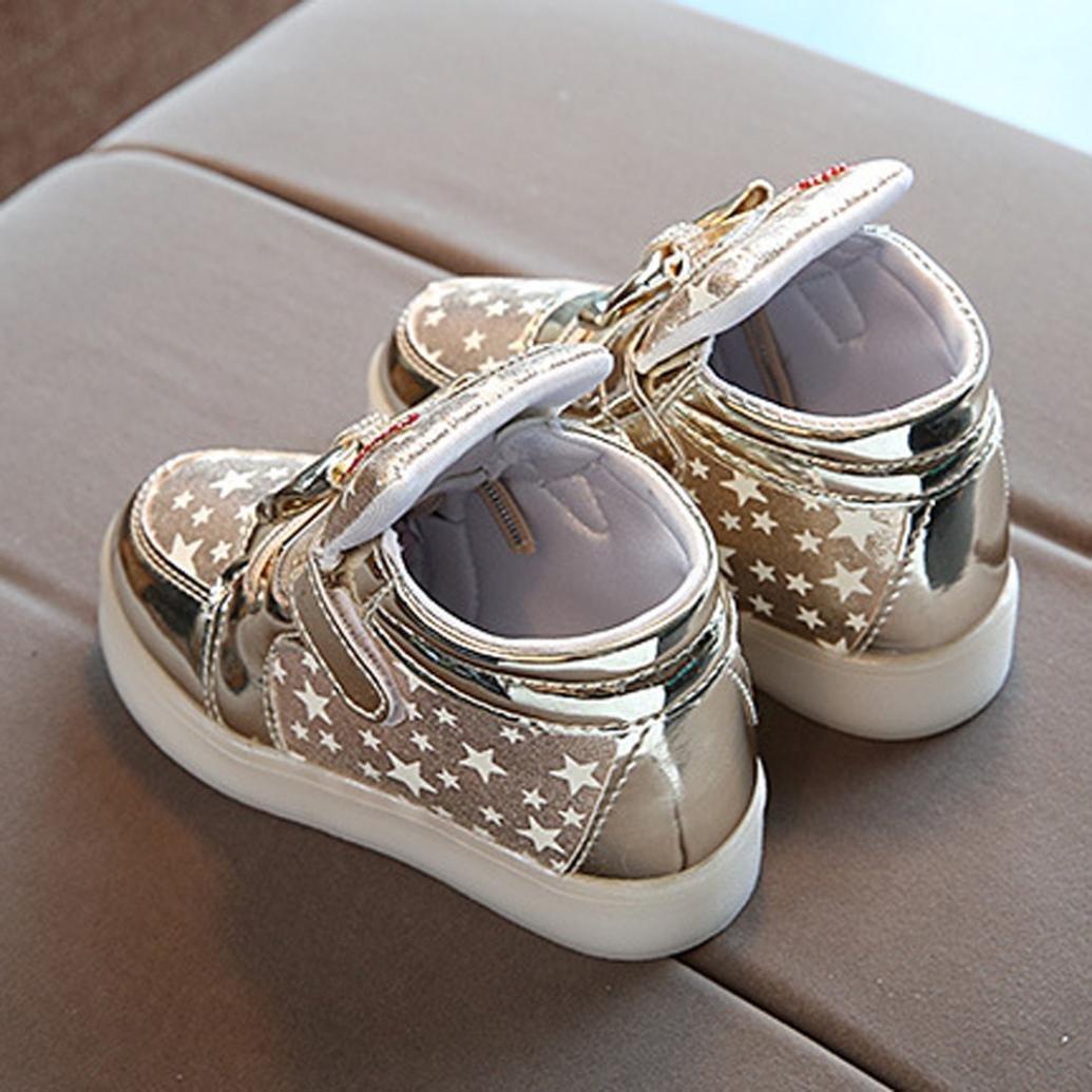 zum 1-6 Jahre alt URSING Baby M/ädchen Prinzessin Mode Bogenknoten Star Luminous Sneakers LED leuchtet Kinder Kleinkind Beil/äufige Bunte helle Schuhe Klettschuhe m/ädchen