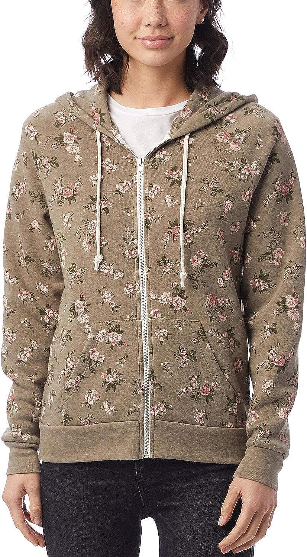 Alternative Womens Adrian Fleece Zip Front Hoodie Sweatshirt