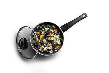 Kitchen Craft - Cacerola Antiadherente de Cerámica ecológica, 16 cm, Acero, Negro, 18 cm (7 Inch): Amazon.es: Hogar