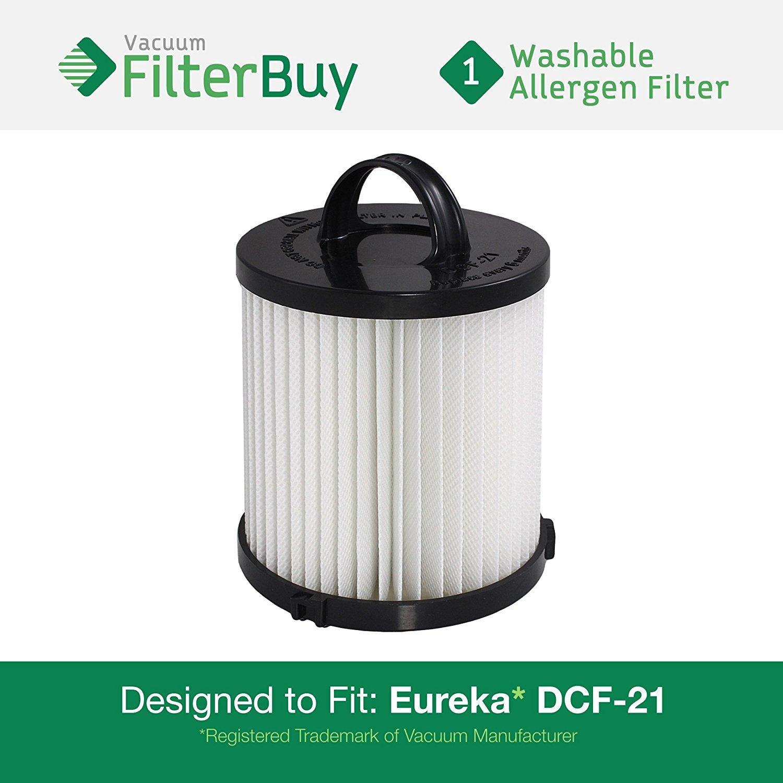 1 Eureka DCF-21 (DCF21) Washable & Reusable Allergen HEPA Filter. Designed by FilterBuy to Replace Eureka Part #'s 67821, 68931, 68931A, EF91, EF-91 & EF-91B by FilterBuy VF-DCF-21